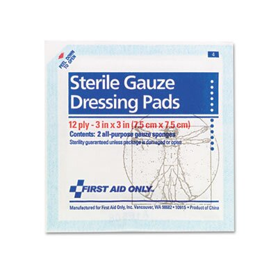 "First Aid Only™ Gauze Pads, 3"" X 3"", 5/Pack"
