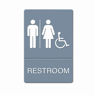 GBC® ADA Restroom Sign, Wheelchair Accessible Tactile Symbol, Molded Plastic, 6 x 9