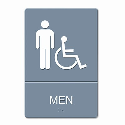 GBC® ADA Restroom Sign, Men Wheelchair Accessible Symbol, Molded Plastic, 6 x 9