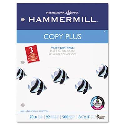 Hammermill Copy Plus Copy Paper, 3-Hole Punch, 92 Brightness, 20Lb, Ltr, 500 Shts/Rm
