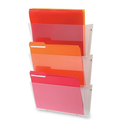 Deflect-O Corporation Unbreakable Wall File Set, Letter, Three Pockets, Clear
