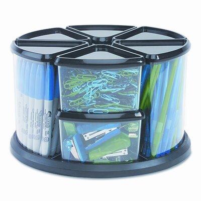 Deflect-O Corporation Nine Canister Carousel Organizer, Plastic, 11 1/8w x 11 1/8h, Black/Clear