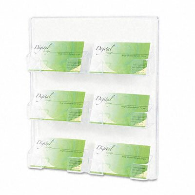 Deflect-O Corporation Six-Pocket Wall Mount Business Card Holder, 8-3/8 x 1-1/2 x 9-3/4, Clear