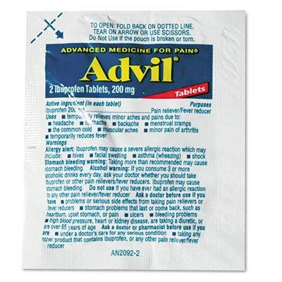 Lil' Drugstore Advil Single-Dose Ibuprofen Tablets Refill Packs, 30 Packets/Box