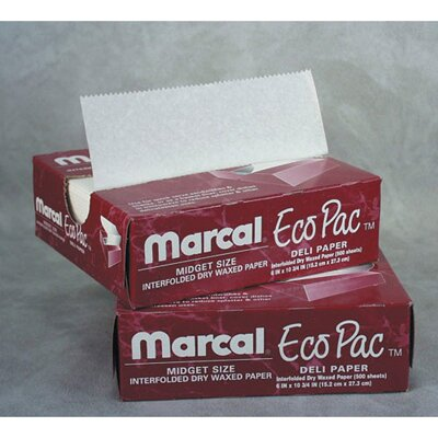 "Marcal Paper Mills, Inc. 8"" Eco-Pac Natural Interfolded Dry Waxed Paper Sheets in White"