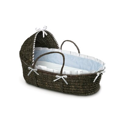 Hooded Moses Basket with Gingham Bedding by Badger Basket