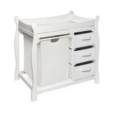 Badger Basket Sleigh Style Baby Change Table with 3 Baskets & Hamper Hamper 02400