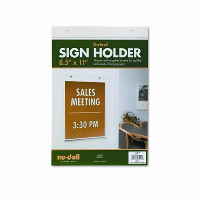 Nudell Plastics Vertical Wall Sign Holder, Acrylic, 8-1/2 x 11
