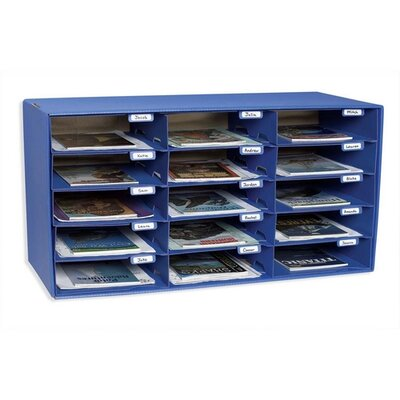 "Pacon Corporation Mail Box, 15 Slots, 12-1/2""x10""x3"", Blue"