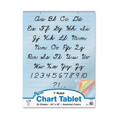 "Pacon Corporation Colored Paper Charts,Cursive Cover,1"" Ruled,24""x32"",Assorted"