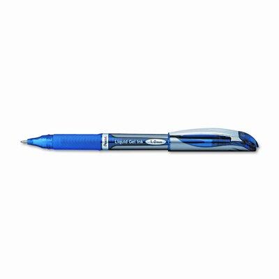 Pentel of America, Ltd. EnerGel Liquid Gel Roller Ball Pen, Silver Barrel, Blue Ink, Bold, 1.0 mm