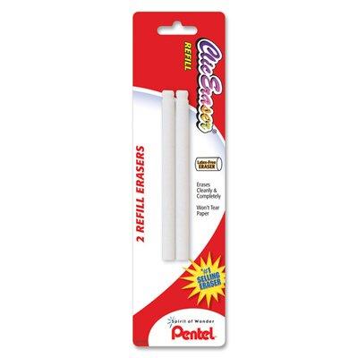 Pentel of America, Ltd. Eraser Refill, Nonabrasive, 2 per Pack, White