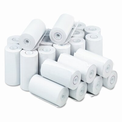 """PM Company Single-Ply Thermal Cash Register / Pos Roll, 4-9/32"""" X 115 Ft., 25/Carton"""
