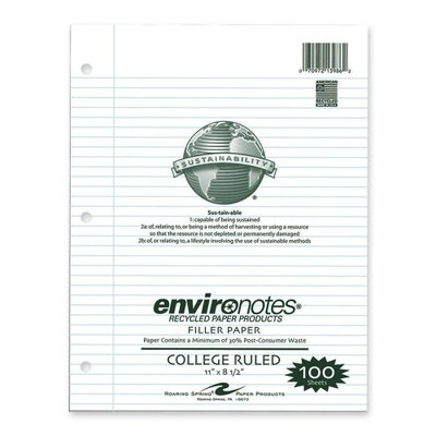 """Roaring Spring Paper Products Filler Paper, College Ruled, 170 Sheets, 11""""x8-1/2"""", White"""