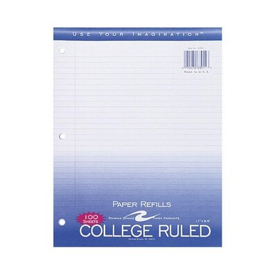 """Roaring Spring Paper Products Filler Paper,College Ruled,11""""x8-1/2"""",3HP,200 Sh/PK,White"""