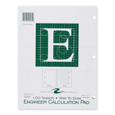 "Roaring Spring Paper Products Engineering Pad,5""x5"" Quad,3HP,100 Shts,11""x8-1/2"",Green"