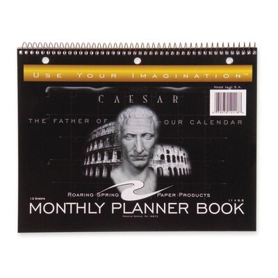 """Roaring Spring Paper Products Calendar, Undated, Wirebound, 13/Sheets, 11""""x8-1/2"""", Black, 2013"""
