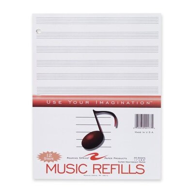 "Roaring Spring Paper Products Music Refill Paper, 3-Hole, 11""x8-1/2"", 20Sheets per Pack, White"