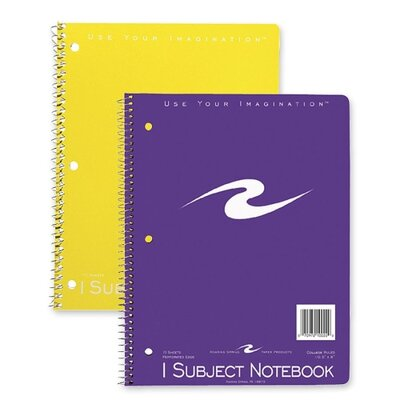 """Roaring Spring Paper Products Spiral Bound Notebook, 1-Sub, Cllg Ruled, 10-1/2""""x8"""", 3-Hole Punch, 70Sheets, Assorted"""