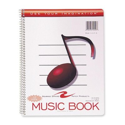 """Roaring Spring Paper Products Music Notebook, Wirebound, 11""""x8-1/2"""", 32 Sheets"""