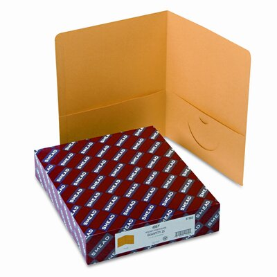 Smead Manufacturing Company Two-Pocket Portfolio, Embossed Leather Grain Paper, 100-Sheet Capacity, Yellow