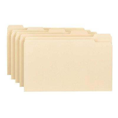 Smead Manufacturing Company File Folder, Legal, 1/5 Ast Tab Cut, 1 Ply, Manila, 100 per Box