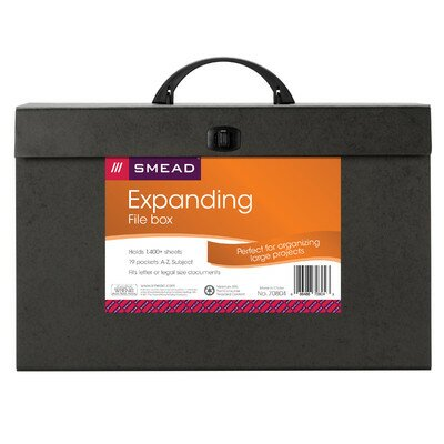 """Smead Manufacturing Company Subject Case File, A -Z, 10""""x15"""", 19 Pokets, Black"""