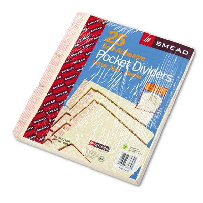 Smead Manufacturing Company Mla Self-Adhesive Folder Dividers with 5-1/2 Pockets On Both Sides, 25/Pack