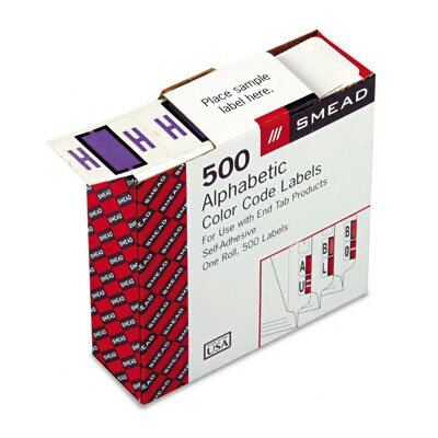 Smead Manufacturing Company A-Z Color-Coded Bar-Style End Tab Labels, Letter H, Lavender, 500/Roll