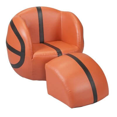 Basketball Kids Upholstered Novelty Chair & Ottoman by Gift Mark