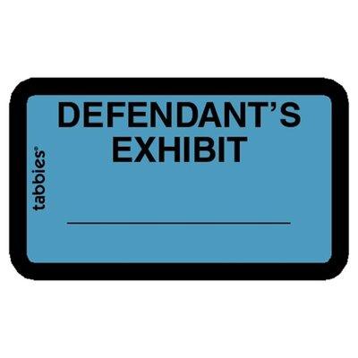 """Tabbies Legal Exhibit Labels, """"Defendant"""", 1-5/8""""x1"""",252/PK,Blue"""