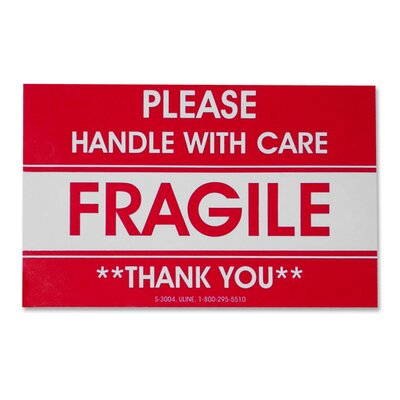 Tatco Shipping Label, Fragile/Handle W Care, 500 per Roll, Red