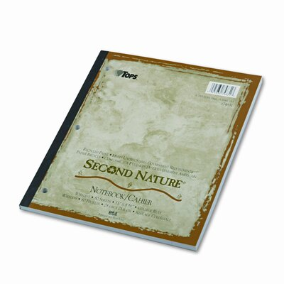 Tops Business Forms Second Nature Subject Notebook, College Margin/Rule, Ltr, White, 80 Sheets