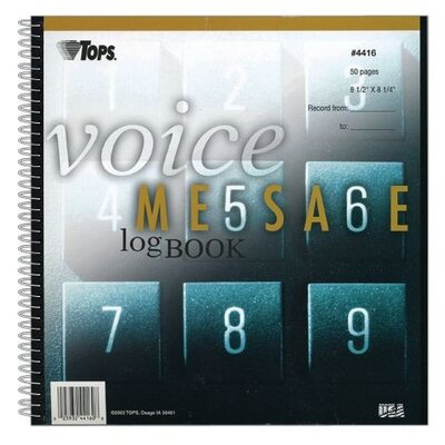 Tops Business Forms Voice Message Log, 8-1/4 X 8-1/2, 700-Message Book