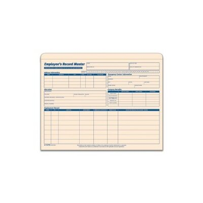 Tops Business Forms Employee Record Master File Jacket, 9 1/2 x 11 3/4, 10 Pt. MLA, 15/Pk