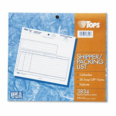 Tops Business Forms Snap-Off Shipper / Packing List, Three-Part Carbonless, 50 Forms