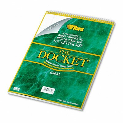 Tops Business Forms Docket Wirebound Ruled Pad with Cover, Legal Rule, Letter, 70 Sheets/Pad