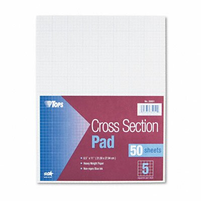 Tops Business Forms Section Pads, 5 Squares, Quadrille Rule, Letter, 50 Sheets / Pad