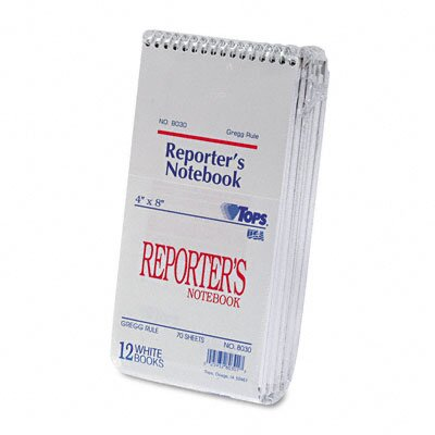 Tops Business Forms Reporter Notebook, Gregg Rule, 12 70-Sheet Pads/Pack