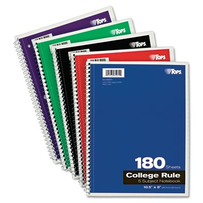 Tops Business Forms Wirebound 5-Subject Notebook, College Rule, 180 Sheets/Pad
