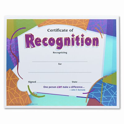 Trend Enterprises Certificate of Recognition Awards, 8-1/2 x 11, 30 per Pack
