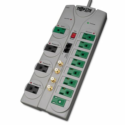Tripp Lite Eco Surge Green, 12 Outlet, Tel Dsl Coax, 10Ft Cord