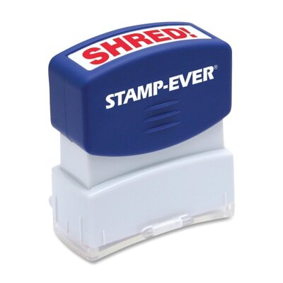 "U.S. Stamp & Sign Stamp, Pre-inked, ""Shred"", 9/16""x1-11/16"" Imp, Red"