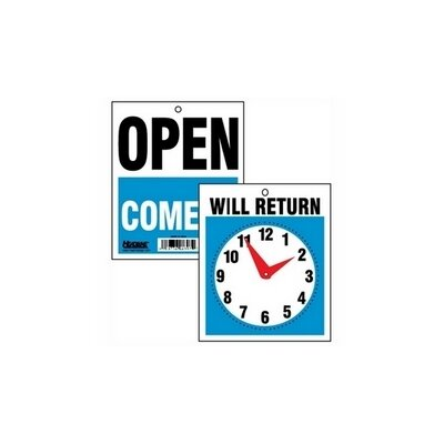 U.S. Stamp & Sign Business Sign on Chain, Open/Closed Will Return w/Digital Clock, Plastic, 11 x 8
