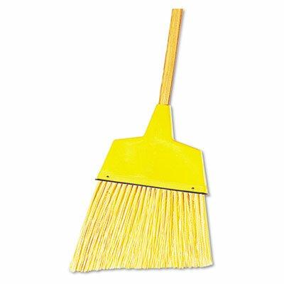 "Unisan Angler Broom, Plastic Bristles, 42"" Wood Handle, Yellow"
