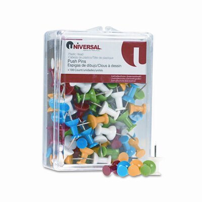 "Universal® Plastic Head Rainbow Color Push Pins, Steel 3/8"" Point, 100 per Pack"