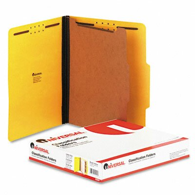 Universal® Pressboard Classification Folder, Letter, Four-Section, 10/Box