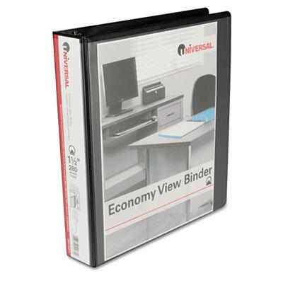 Universal® Round Ring Economy Vinyl View Binder, Black