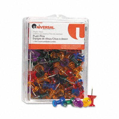 Universal® Colored Push Pins, 100/Pack