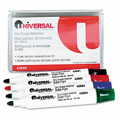 Universal® Dry Erase Markers (4 Pack)